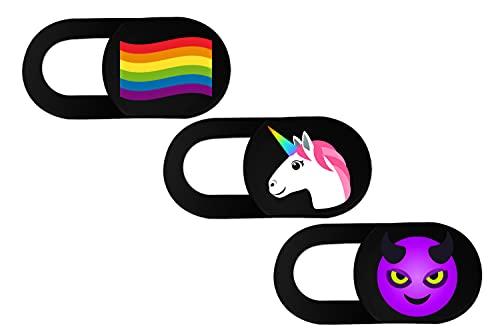 hidemonkeys Webcam Abdeckung 3er-Pack mit Emoji Design. 0,8 mm superdünner Camera Cover, Slider Kamera Abdeckung für Laptops, Tablets, Handys, iMac, iPhone, Notebook (LGBT Flagge, Einhorn, Teufel)