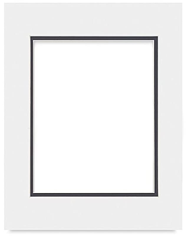 Poster Palooza White on Black Double Photo Mat 8.5x11 for 5.5x8.5 Photos - Fits 8.5x11 Frame