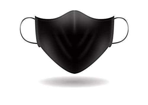 Mascherina alla Moda per il Viso con Elastici. Lavabile, Sterilizzabile e Riutilizzabile. Unisex e Made in Italy (FULL NERO)