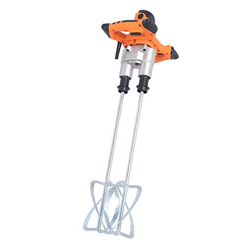 Electric Hand Held Mixer Electric Mortar Mixer Cement Drill Mixer Stirring Tool Double Auger Mixer, 1600W Double Paddle Mixer Machine for Mortars Concretes Grouts