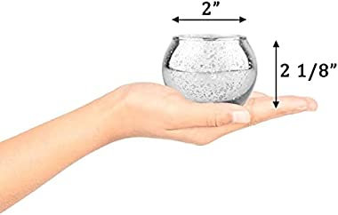 SHMILMH Round Silver Votive Candle Holders, Set of 24 Mercury Glass Tealight Candle Holders, Tea Candle Holder Bulk with Spec