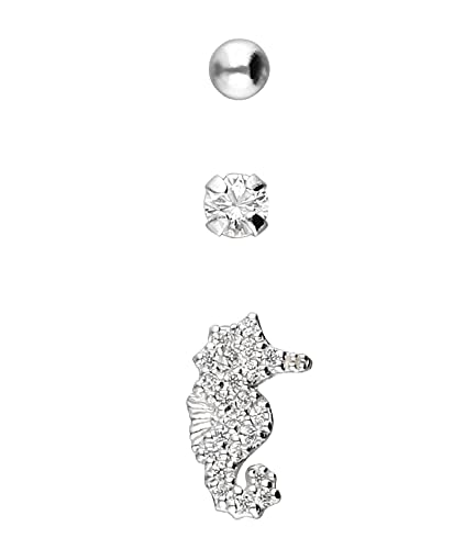 SIX Trendy Set versilbert mit Seepferdchen-Motiv aus 925er Silber für Damen (619-618)