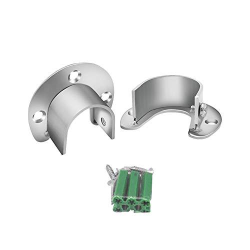 JIHUOO 2 Stück Edelstahl U-förmiger Rundrohr Halterung Kleiderstangenhalter für den Schrank Schrankrohr Stange