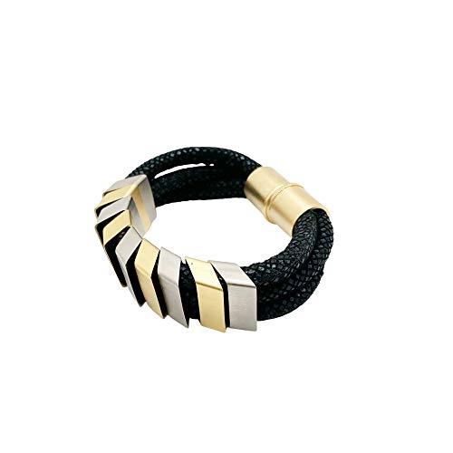 NIEVOS JEWELRY Pulsera de declaración chapada en oro de 24 quilates y plata 925, elementos únicos en cordones negros con cierre magnético, diseño moderno y raro de moda, hecho a mano en Israel