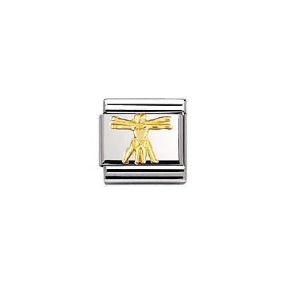 Nomination Composable Classic Relief Edelstahl und 18K-Gold (Vitruvmann) 030122