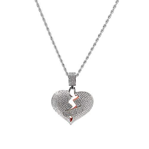 Moca Schmuck Gebrochenes Herz Kette Pflaster Design Kreative Anhänger 18 Karat Vergoldete Halskette für Männer Frauen (Silver)