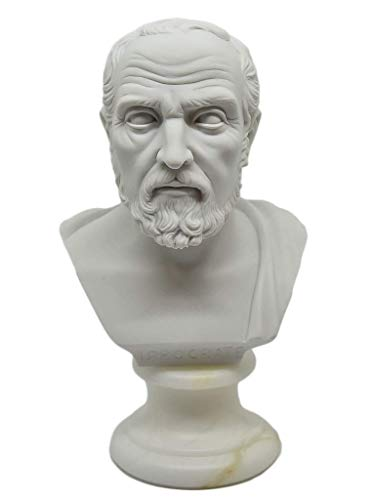 Busto statua Filosofo Ippocrate - Riproduzione Busto, Scultura Marmo e Resina, 15 cm, 350 gr - Artigianato Toscano Design, Verniciati a Mano – Idea Regalo