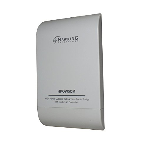 Hawking Technology High Power Outdoor Wi-Fi 2 x 5dBi Omni-Directional Multifunction Access Point, Bridge, Repeater, Router with Built-in AP Controller and PoE Included (HPOW5CM)