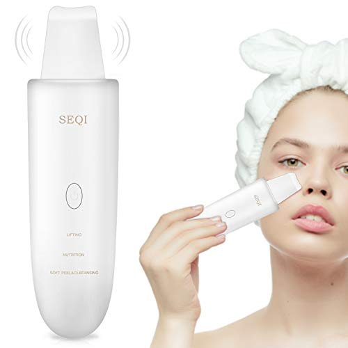 SEQI Limpiador Facial Ultrasónico, Peeling Ultrasónico Facial con 3 Modos,Skin Scrubber, USB Recargable, Exfoliación Facial Ultrasónica Limpiador de Poros para Limpieza Facial y Cuidado Facial(blanco)