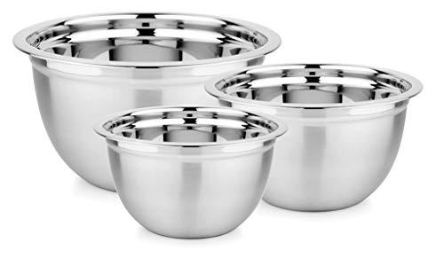 Space Home - Set di 3 Ciotola da Cucina in Acciaio Inox - Ciotole Multiuso - Ciotola per Mescolare - Argento - 20, 24, 28 cm