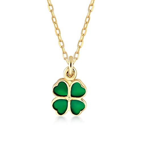 GELIN 14k Yellow Gold Shamrock Clover Irish with Green Stone Pendant Chain Necklace for Women, 18'