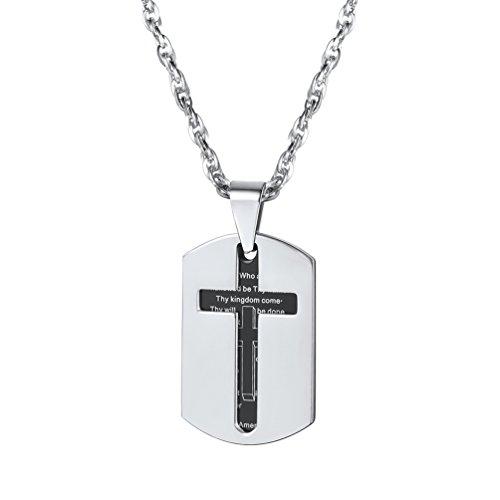 PROSTEEL Edelstahl Dog Tag Erkennungsmarke Schwarz Metall Kreuz Gebet Anhänger Halskette Herren Modeschmuck