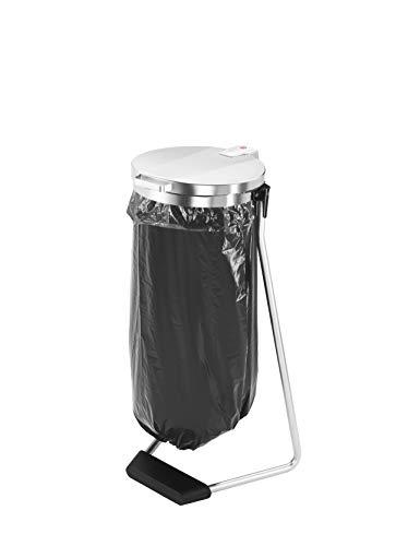 *Hailo ProfiLine MSS Design XXXL Müllsackständer 120 Liter | Stahlgestell mit Klemmring | großer Öffnungswinkel mit Deckelfixierung | stabiler Polymer-Beton Fuß | Müllsackhalter | silber*