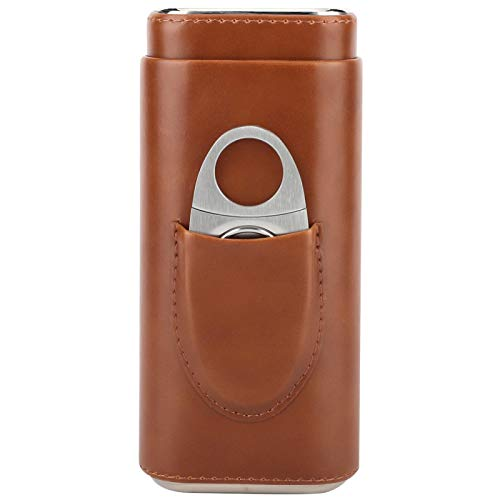 KUIDAMOS Portable Leather Cigar Case Cedar Wood Lined Cigar Humidor with Cutter for 3 Cigars for Cigar Lover,Light Weight(Brown)