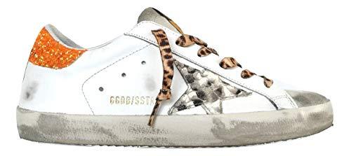 Golden Goose Scarpe Donna Sneaker Superstar Vintage 80159 Bianco-Arancione (38)
