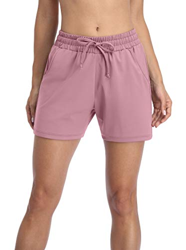 Charmo Damen Sporthose kurz Sweathose kurz Jogginghose Shorts Kurze Yogahose Sweatpants Laufshorts Rosa XL