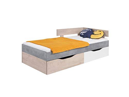 KRYSPOL Kinderbett Sigma SI15 Jugendbett mit 2 Bettschubladen und Lattenrost, Funktionsbett 90x200 cm, Jugendzimmer (Beton + Weiß Lux + Eiche)