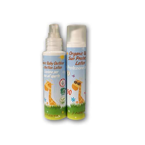 Protection Solaire pour Bébés et Enfants - AZETA bio Crème Solaire | Protection Solaire Bio Bambin Fille Garçon (Solaire 50ml + Anti-Moustique 100ml)
