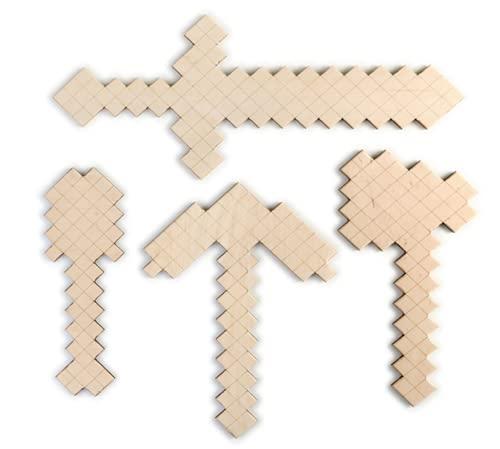 Handmade Holz Schwert / Spitzhacke / Axt / Schaufel kompatibel mit Minecraft Spiel