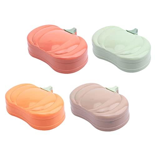 Cabilock 4 Unidades de Caja de Jabón de Plástico Caja de Jabón de Dibujos Animados Ahorrador de Jabón de Calabaza Secador de Jabón para El Hogar Baño Cocina Jabón Recipiente de Esponja