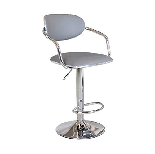 Barkruk 360 deg | Draaibare barkruk voor ontbijt, pub | Bureaustoel, teller, in hoogte verstelbaar, zithoogte van PU-kunststof, maximaal draagvermogen 120 kg (veiligheidsleuning) voor keuken | Pub | Caf 43~60cm Grijs