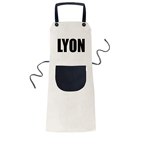 DIYthinker Lyon France Ville Nom Cuisiner Cuisine Beige réglable Tablier Bavoir de Poche Femmes Hommes Chef de Cadeau 70cm x 67cm Noir
