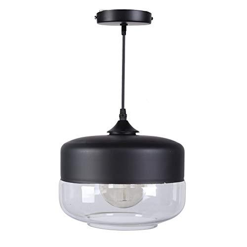 JYLSYMJa Luz de Techo de Vidrio Simple, lámpara Colgante E27 con portalámparas de Hierro, Altura Ajustable de 1,5 m, lámpara Colgante para Patio, balcón, Negro y Transparente(A)