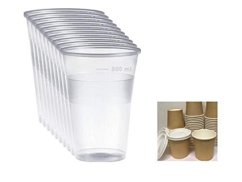 Bicchieri in PLASTICA Trasparente Birra MONOUSO 300CC 500 Pezzi (Kit Bar con 50 Bicchieri da ASPORTO 110ml Ideali per Caffe Espresso)