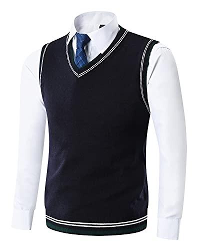 Yingqible Uomo Casual Pullunder Smanicato Gilet con Scollo V Strisce Maglione Senza Maniche Vest Maglieria Pullover