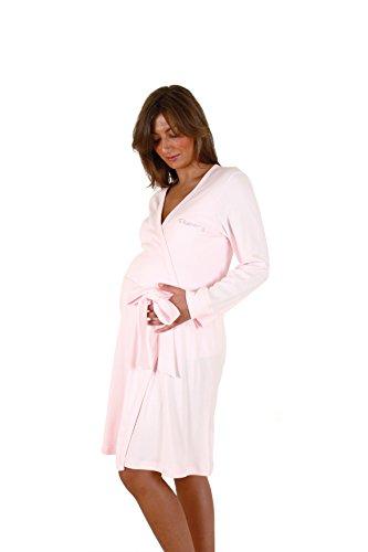 Premamy - Bata para Maternidad, Modelo de Frente Abierto, algodón cálido, Ideal para el Invierno, pre-Post-Parto - Rosa - VII (XXL)