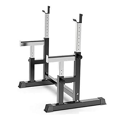 lkoezi Weightlifting Rack, Adjustable Squat Rack Barbell Free Bench Press Iron Rack, Portable Dumbbell Rack Bracket Weight Lifting Fitness Equipment Exercise Rack (Black)