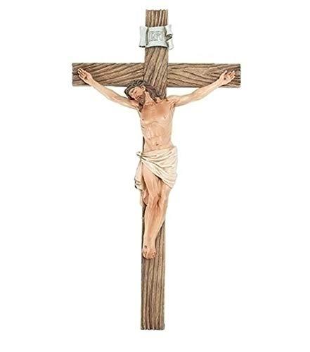 Crucifixo de parede de resina Jesus Nailed On The Cross, 35,5 cm