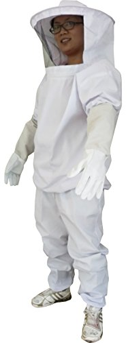 養蜂用 防護服 蜂防護服 養蜂 防護服 上下服 フェイスネット 手袋 3点 セット/蜂の巣 害虫 蜂 駆除