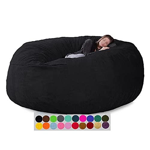 Ninhao Sillón de puf Gigante de 7 pies, Lavable a máquina, sofá, sillón (sin Relleno), Costuras de Doble Costura, para niños, Adultos, Parejas (Color : Black)