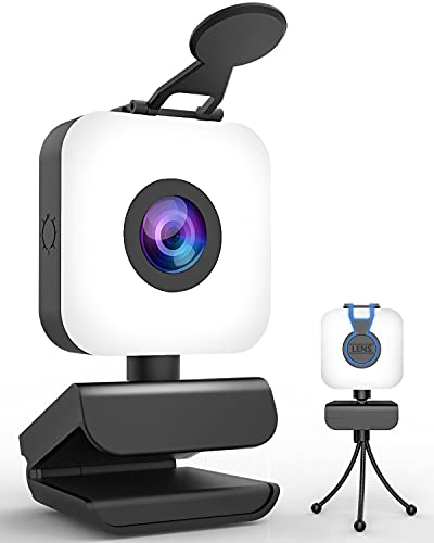 Web Cameras for Computers with Light-1080P HD Streaming Webcam with Microphone for Desktop,Usb Face Web Cam with Privacy Cover&Tripod for PC Laptop,Pro Gaming Webcam for Youtube,Skype,Zoom,Xbox One,TV