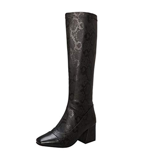 Best Prices! Women's Knee-High Boots Side Zipper Snake Print Square High Heel Long Tube Booties Comf...
