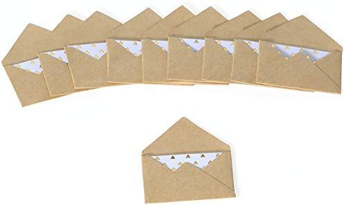 Rico Design 10x Mini Briefumschläge mit Karte Kraftpapier- Karte zum selbst gestalten- Umschlag für Einladungen, Geburtstagskarten, Glückwunschkarten