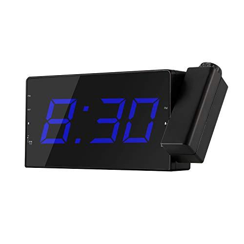 Dnieheic Reloj de proyección Radio Radio Alarma Snooze Temporizador Digital, Pantalla LED Reloj de proyección Radio Reloj Despertador con 2 alarmas Temporizador Temperatura Cable de Carga USB Pared
