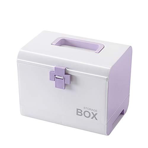 Etravel 救急箱 薬箱 おしゃれ 収納 大容量 引き出し 手提げ 薬ボックス 薬入れ 十字ロック 収納ボックス 救急ボックス 整理 医療箱 応急処置 家庭用 車載用 パープル