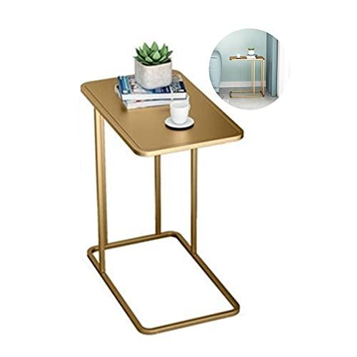 Bijzettafel Bank Bijzettafel C-tafel, metalen ijzeren oppervlak, bijzettafel voor nachtkastje/gang/woonkamer (zwart, goud) Hoektafel (maat: A)