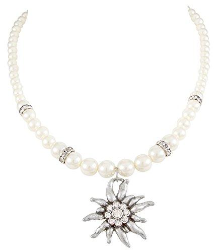 SIX Kurze Perlenkette mit Edelweiß-Anhänger und Glitzersteinen für JGA/Hochzeit/Oktoberfest, Verkleidung, Karneval, Fasching (741-677)