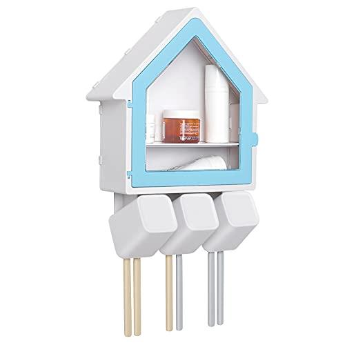Yorbay Portaspazzolino con 3 tazze, 6 fessure per spazzolino da denti, senza foratura, per bambini e adulti, con organizer per cosmetici, mensola da bagno da parete, colore blu