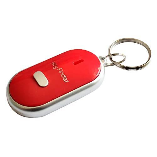 Buscador de Llaves antipérdida Localizador de búsqueda Inteligente Llavero Silbido Pitido Control de Sonido Antorcha LED Buscador de Llaves de Coche portátil - Rojo