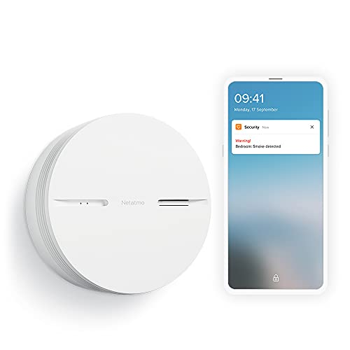 Netatmo Smart Smoke Alarm, 10-Years Battery life, Connected Smoke, Self-Testing, No Hub Necessary, Conforms to EN14604, NSA-UK