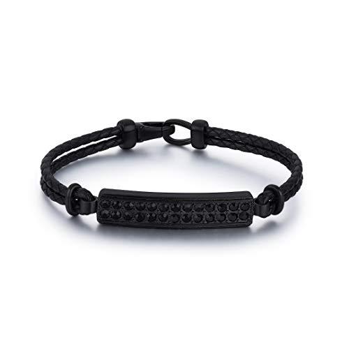 GIN EXQUISITE Pulsera de piel auténtica y acero inoxidable con piedras negras para hombre en color negro   Joyero Elite   Adecuado para regalo   21 cm
