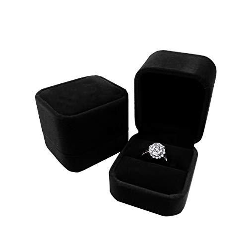 duoduodesign Classic Velvet Engagement Ring Box (Black)
