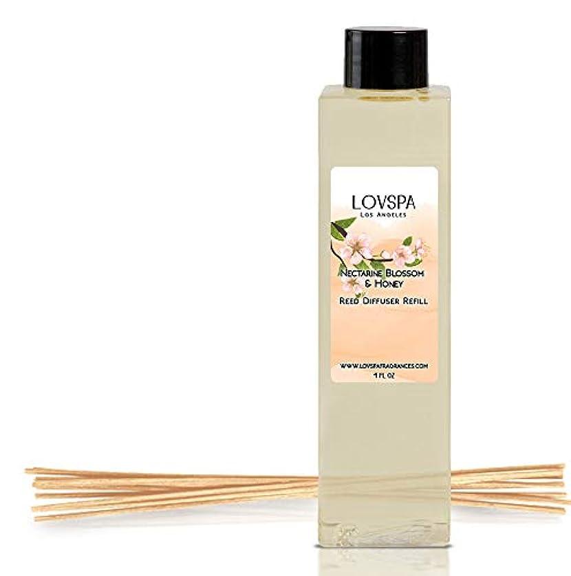組み立てる正確さ余分なLOVSPA Nectarine Blossom & ハニーリード ディフューザー オイル リフィル 交換用リードスティック付き | Nectarine & Peach Sorbet, Blackcurrant, Plum, Spring Blossoms & Manuka Honey, 4オンス | アメリカ製