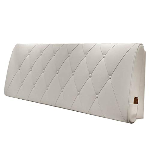 KD Bett Soft Pack Kissen, Lederbezug Sofa Große Rückenlehne mit/ohne Bett Kopf (weiß) Home (Farbe : No Bed, größe : 150 * 60 * 10cm)