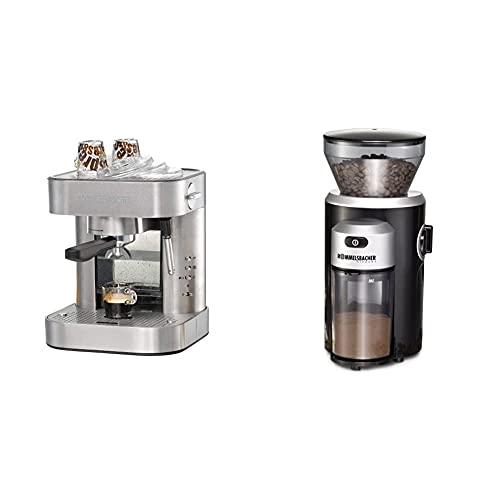 ROMMELSBACHER Espresso Maschine EKS 2010 - Siebträger, Filtereinsatz für 1 bzw. 2 Tassen, Vorbrühfunktion, 19 Bar Pumpendruck & ROMMELSBACHER Kaffeemühle EKM 300 - Kegelmahlwerk aus Edelstahl