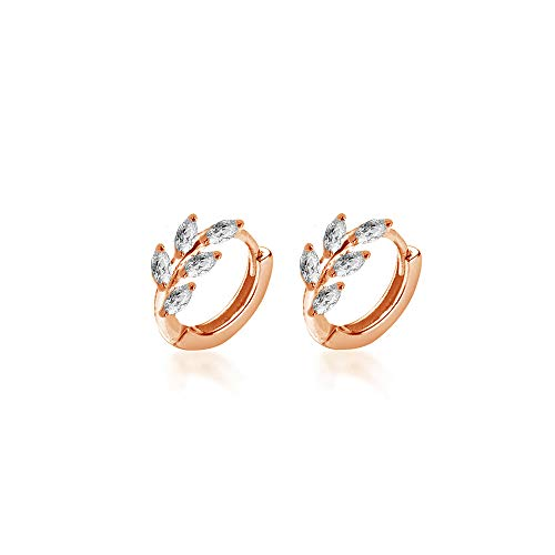 CZ Leaf Cartilage Huggie Small Hoop Earrings for Women Girls 925 Sterling Silver Cubic Zirconia Cluster Leaves Round Studs Tragus Pierced Ear Endless Hoops 8mm Dainty Gifts (Rose Gold Plated)